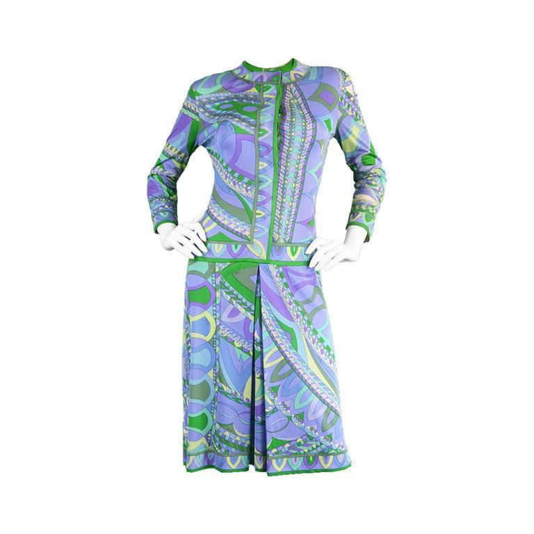 1960s Emilio Pucci Printed Silk Jersey Shift Dress