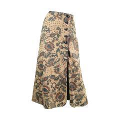 1970s Geoffrey Beene Bazaar Vintage Paisley Maxi Suede Skirt