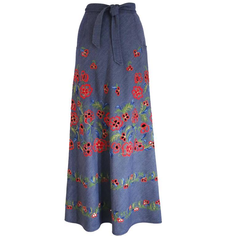 Pirovano couture silk cotton embroidered maxi skirt, c. 1960s