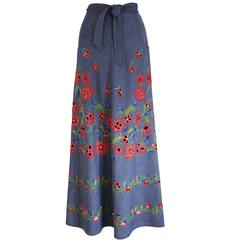 Pirovano couture silk cotton embroidered maxi skirt, c. 1960s