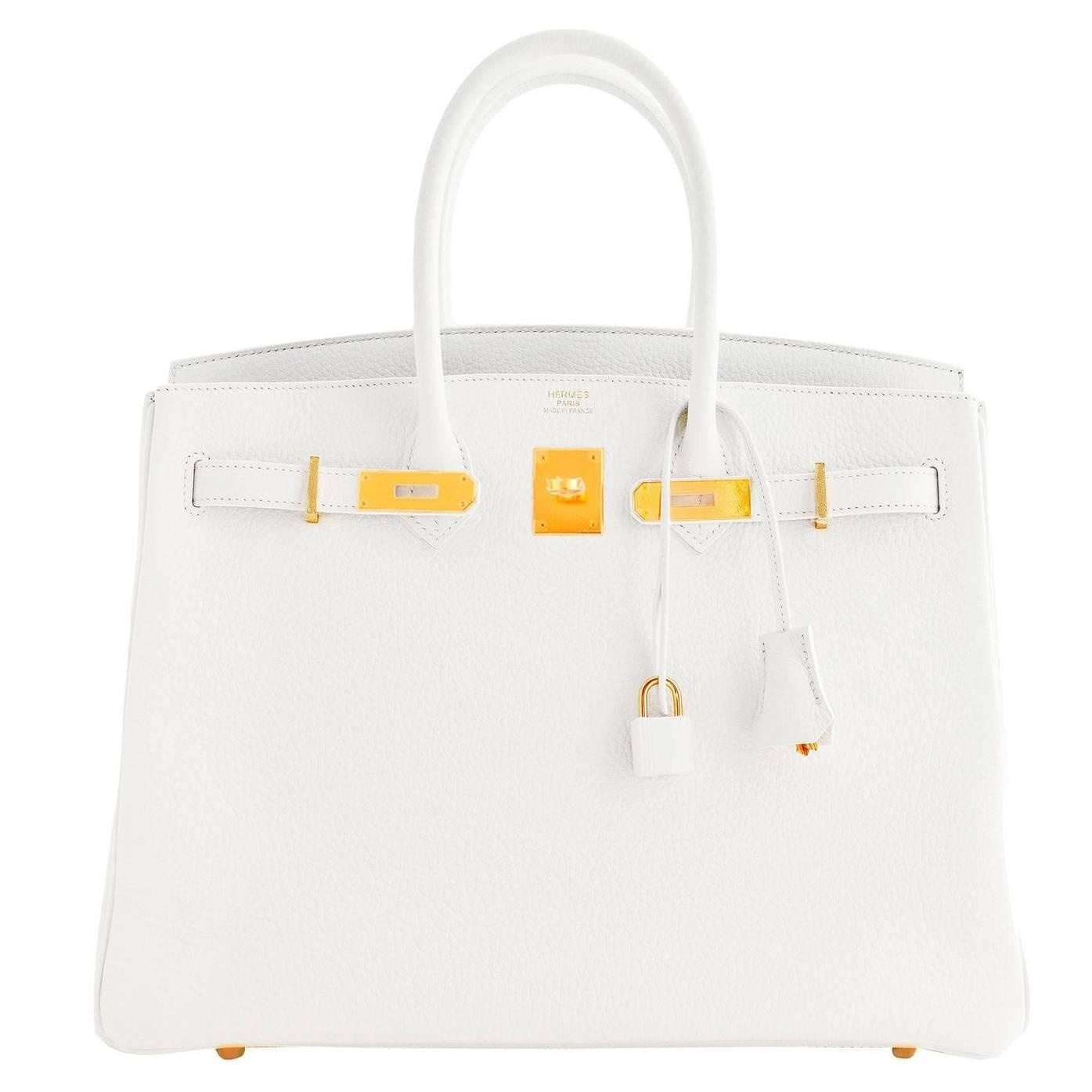 hermes taschen - Hermes White Gold 35cm Birkin GHW Fresh 2016 Bag Interior X Stamp ...