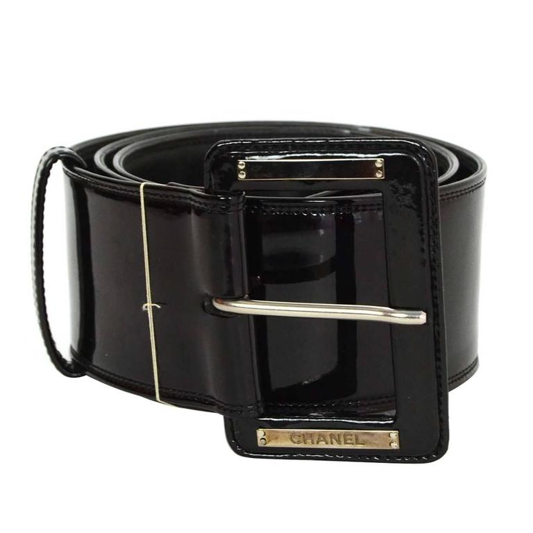 Chanel Black Patent Extra Wide Belt sz 85 For Sale