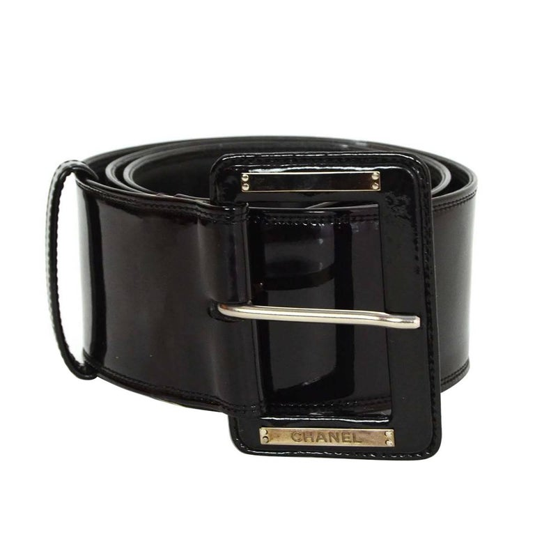 Chanel Black Patent Extra Wide Belt 
