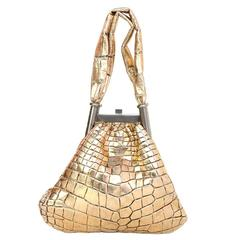 Chanel Metallic Gold Crocodile Frame Handbag