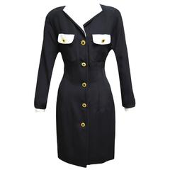 Adolfo Black and White Shirt Dress with Gold Buttons