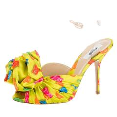 Moschino Couture NEW and SOLD OUT Yellow Satin Candy High Heels Sandals in Box