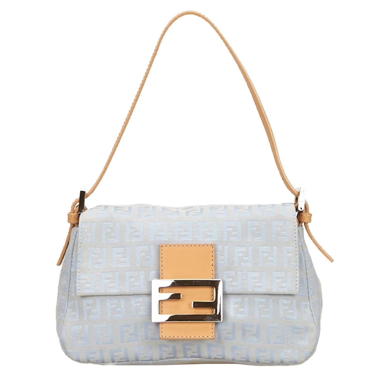 a9145646a9f1 Fendi Jacquard Blue Zucchino Baguette Hand Bag For Sale at 1stdibs