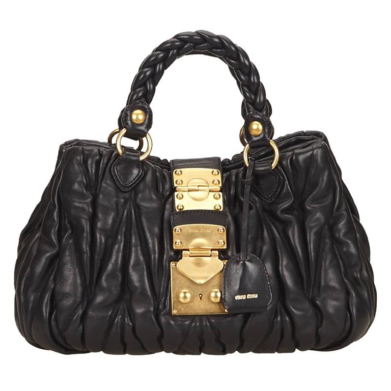 45fcc17750ae Miu Miu Black Leather Coffer Shoulder Bag at 1stdibs