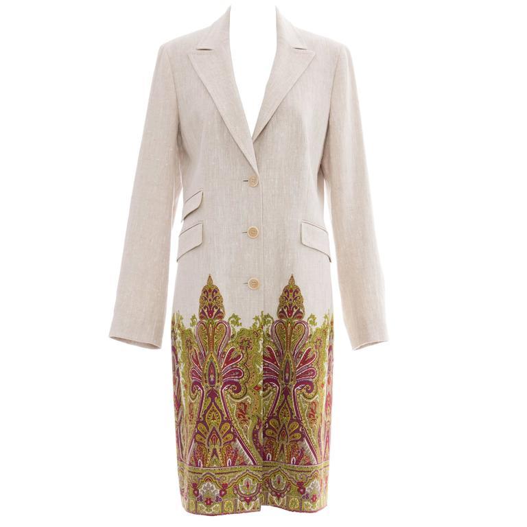 Etro Paisley Printed Lightweight Linen Coat, Spring 2007