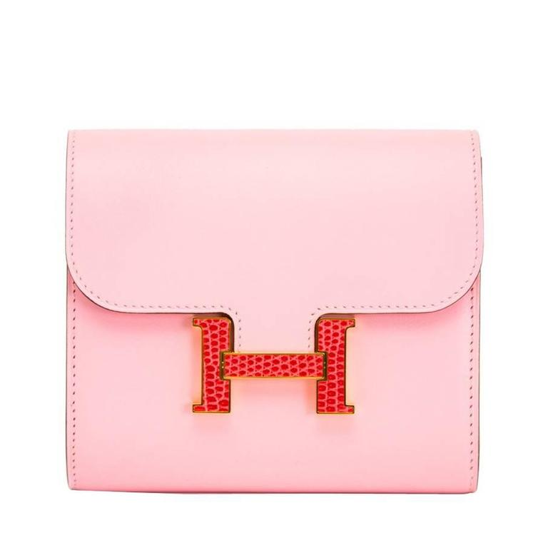 Brand New Pink Hermes Constance Compact  Wallet  For Sale