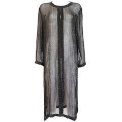 Bergdorf Goodman translucent beaded silk chiffon evening dress coat, c. 1990s