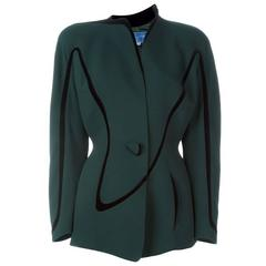 1980s Iconic Thierry Mugler Green Jacket