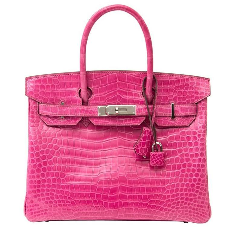 Hermes Birkin 30 Crocodile Porosus Lisse Fuchsia For Sale at 1stdibs 177fb1d118