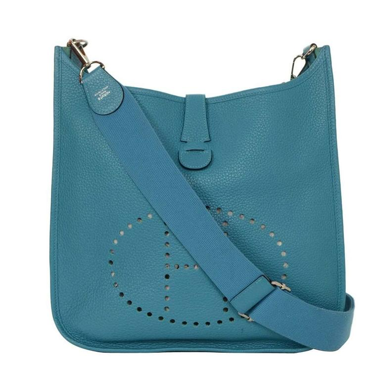 ... germany hermes turquoise clemence evelyne iii gm crossbody bag phw for  sale 1b45e 8ca13 f0b194bf7ea54