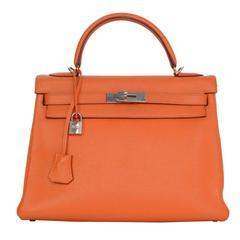 Hermes Orange Clemence Leather 32cm Kelly Bag PHW