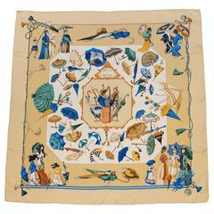"""1998 Hermes Silk Scarf """"Ombrelles et Parapluies"""