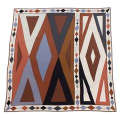 1970's Emilio Pucci Brown and Gray Geometric Silk Scarf