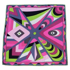 2000's Emilio Pucci Purple and Lime Green Geometric Print Silk Scarf