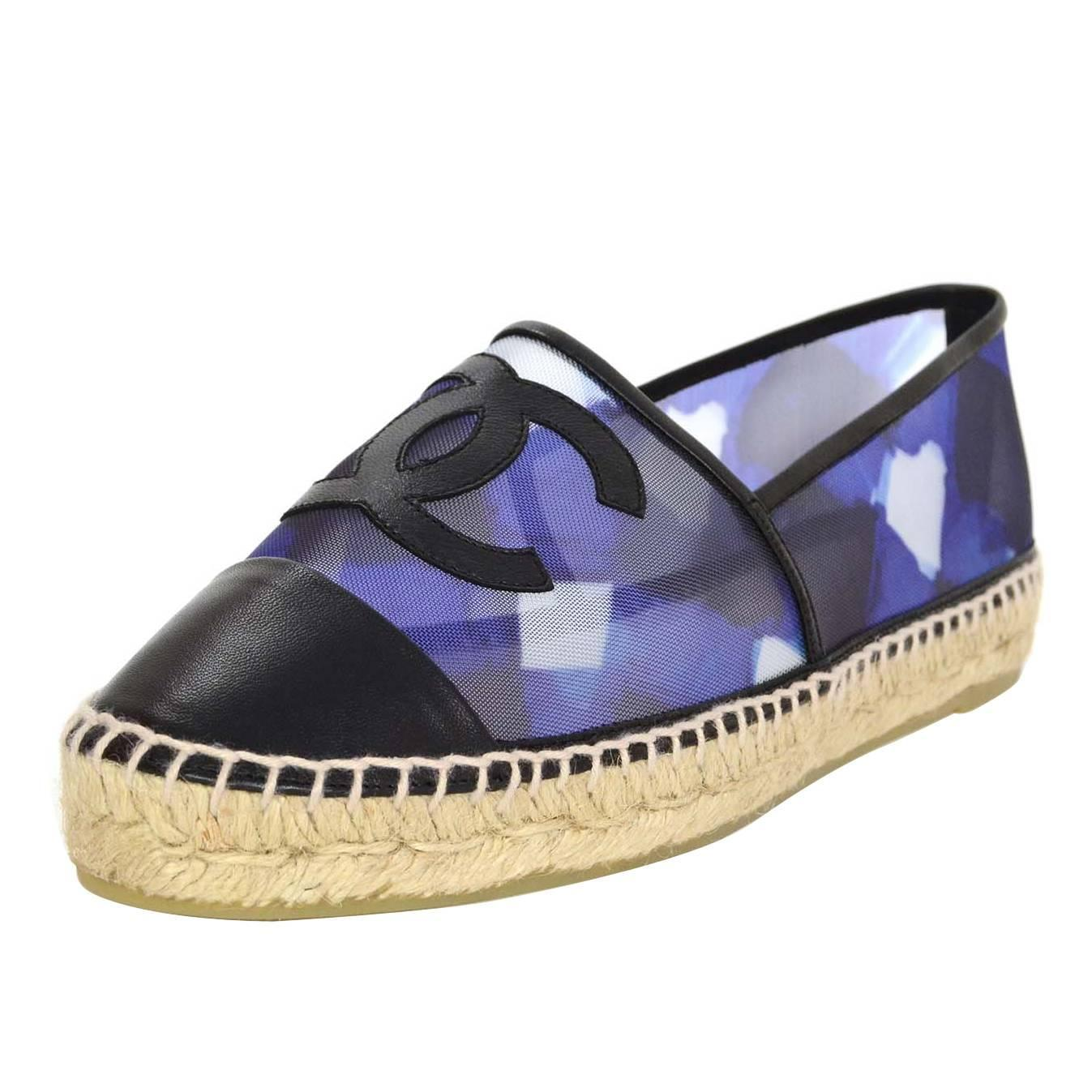 Chanel New 2016 Blue Mesh And Black Leather Cc Espadrilles
