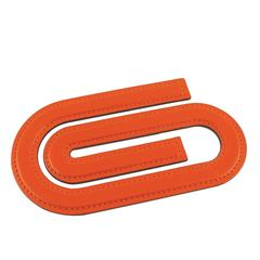 Hermes Orange Leather Paper Clip