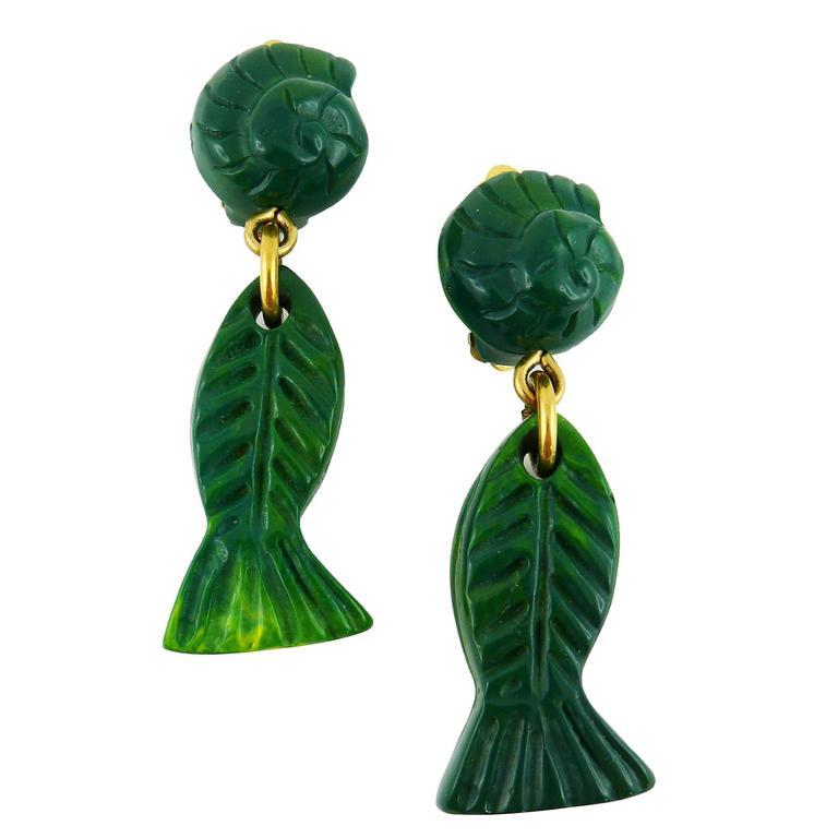 Yves Saint Laurent YSL Vintage Sea Life Dangling Earrings 1