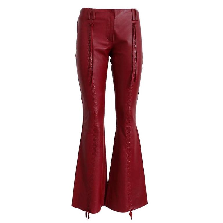Dolce & Gabbana Cherry Leather Pants For Sale