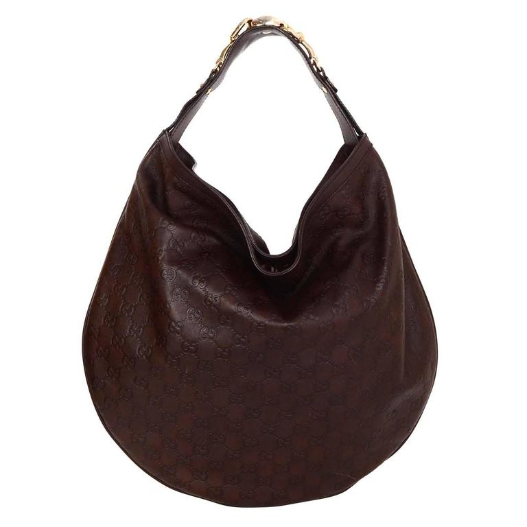 Gucci Brown Monogram Leather Hobo Bag GHW For Sale at 1stdibs