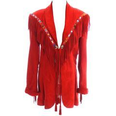 Vintage Char Santa Fe Cherry Red Soft Suede Jacket Fringe Beading