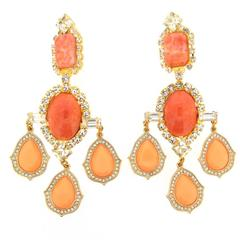 Larry Vrba Coral Statement Earrings