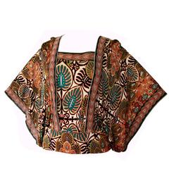 Colorful Jean Paul Gaultier Soleil Mesh Angel Sleeve Blouse Top Size L