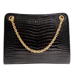 Rare 1950s Gucci Black Crocodile Handbag
