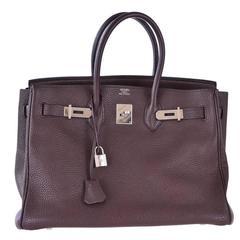 Hermes Birkin Bag 35cm Gorgeous Moka Clemence Palladium hardware JaneFInds