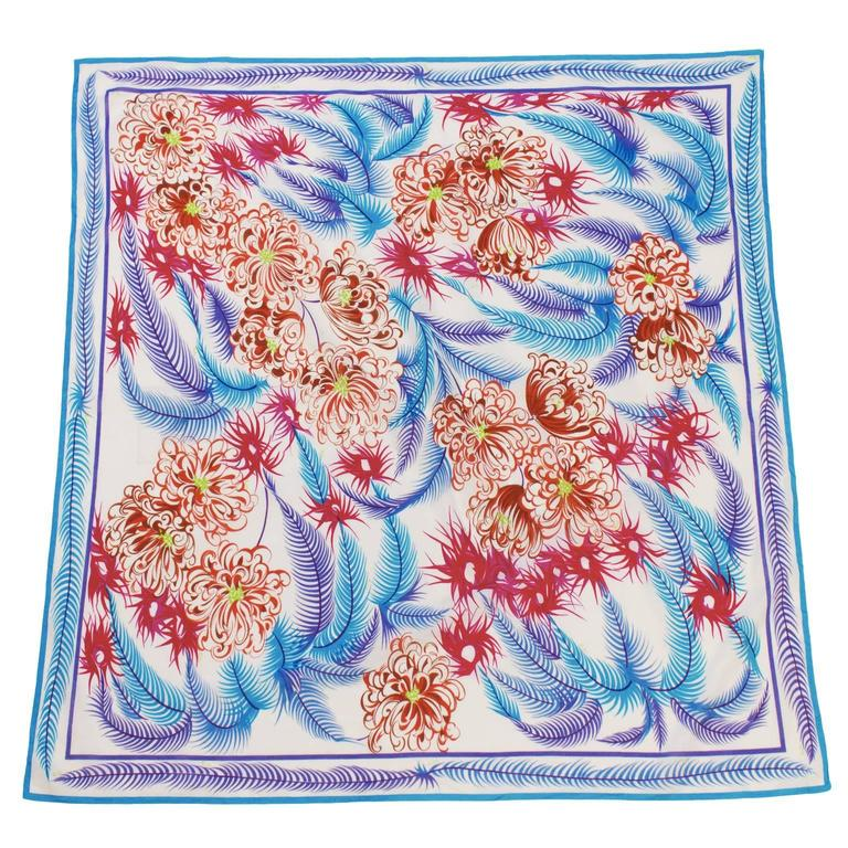 1970's Emilio Pucci Cotton Feather and Flower Print Scarf