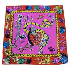 1980's Early Escada Shocking PInk & Red Scribble Silk Scarf