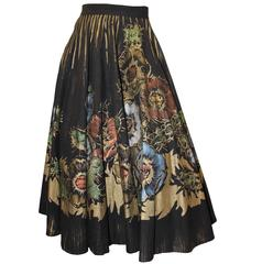 1950s Hand Painted Floral Circle Skirt