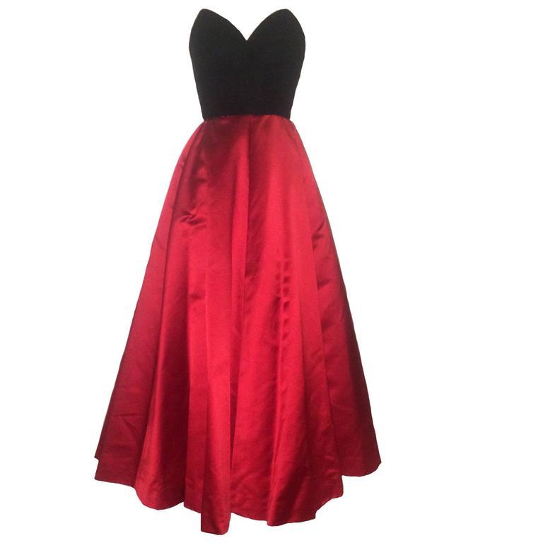 Oscar de la Renta Vintage 1990s Black Velvet Red Satin Ball Gown Evening Gown 1