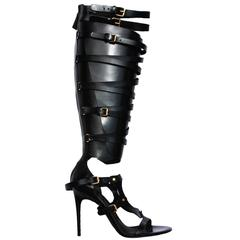 New TOM FORD Black Strappy Buckled Sandal Leather Gladiator Boots