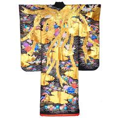 Rare Black Japanese Uchikake Wedding Kimono