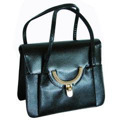 Coblentz Handbag Tote Style Gold Hardware Black Lizard Leather I. Magnin 60s