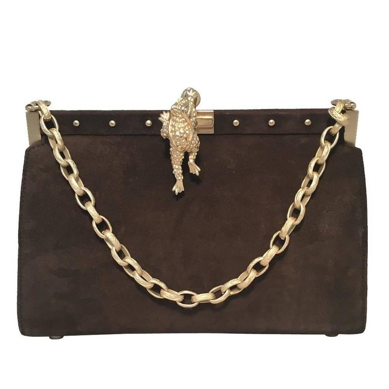 Barry Kieselstein-Cord Brown Suede Handbag For Sale