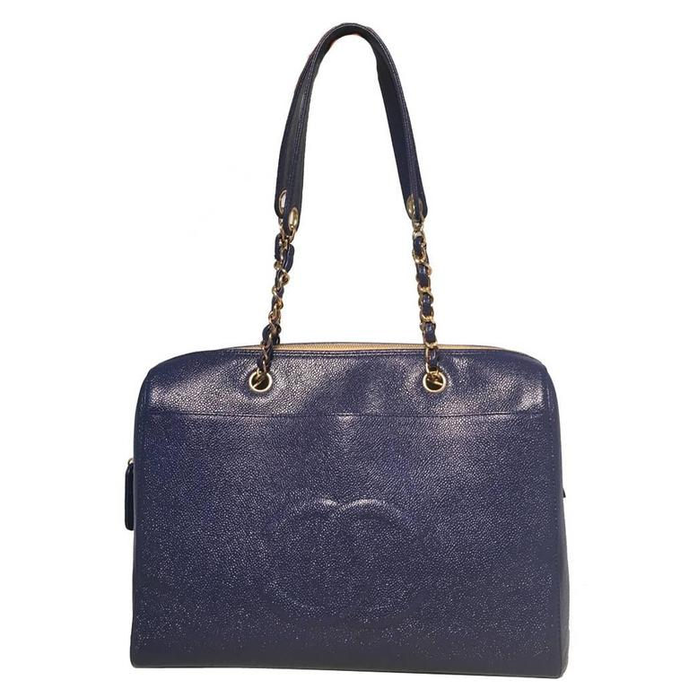 Chanel Royal Blue Caviar Leather Shoulder Bag Tote 1