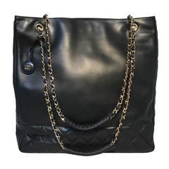 Chanel Vintage Black Leather Shopper Tote Shoulder Bag