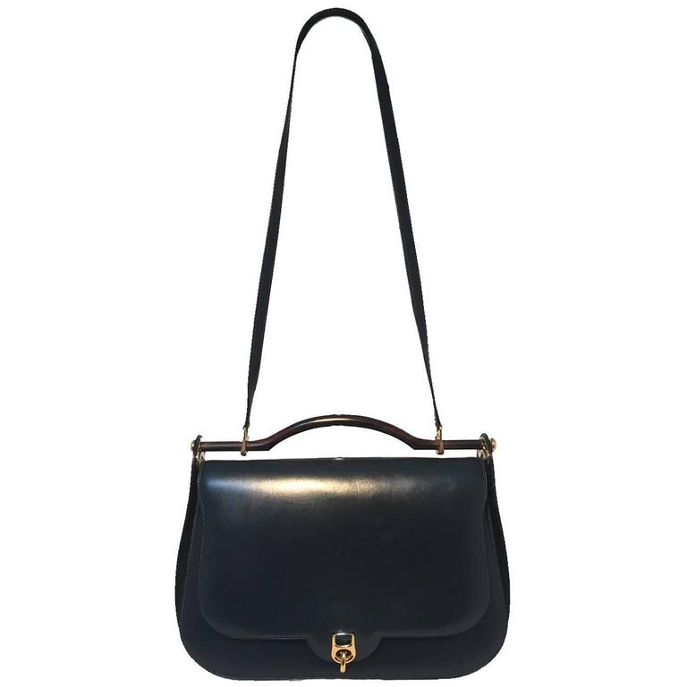 Hermes Vintage Navy Blue Leather Top Handle Shoulder Bag