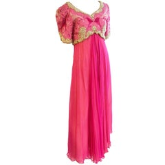 Vintage Richilene Heavily Embroidered Beaded Pink Silk Chiffon Evening Dress