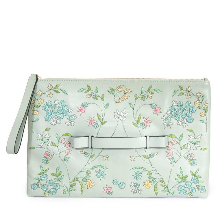 Red Valentino Pastel Green Floral Embellished Leather Clutch 1