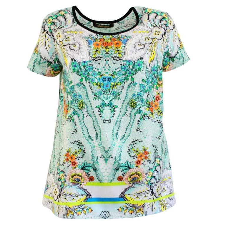 Roberto Cavalli Fancy Silk T-Shirt For Sale