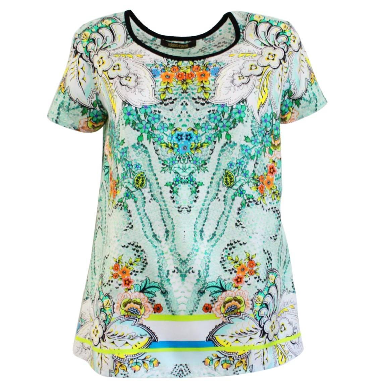 Roberto Cavalli Fancy Silk T Shirt For Sale At 1stdibs