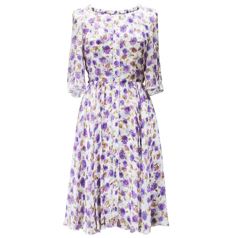 2000's Dolce&Gabbana Purple Flower Printed Summer Dress   1