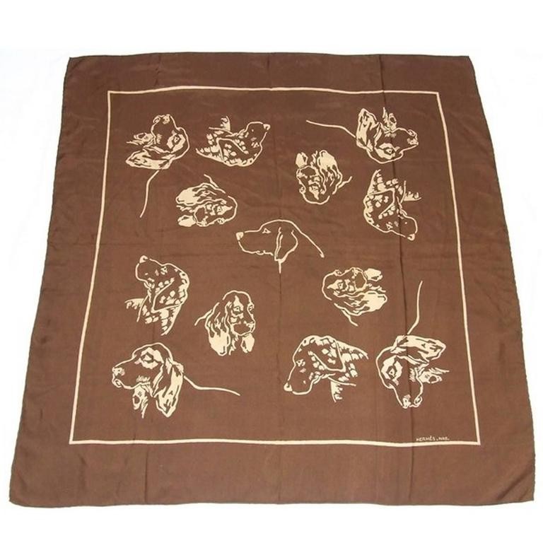 Hermes Silk Scarf Cockers Dogs TRUE COLLECTOR ITEM