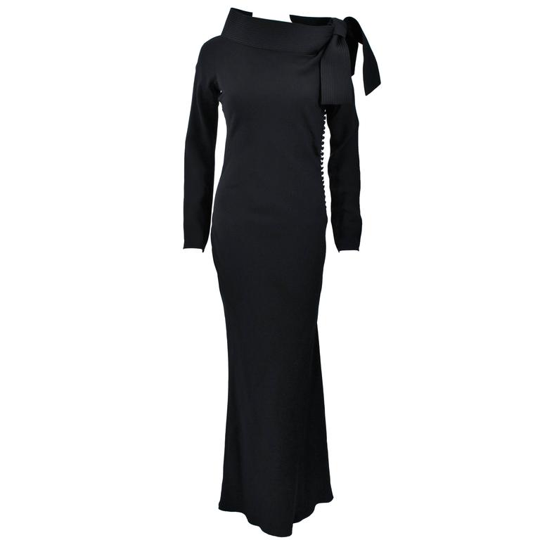 JOHN GALLIANO For CHRISTIAN DIOR Black Gown with Collar Detail Size 38 6 1